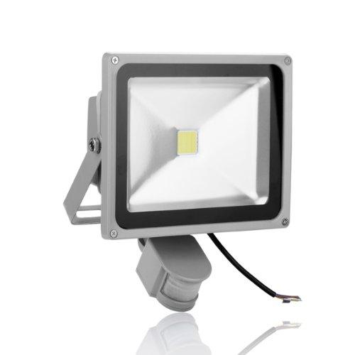 Himanjie Faro a LED da Esterni con Sensore di Movimento Luce Risparmio Energetico Faretti LED Impermeabili Illuminazione Garage Giardino (Bianco Freddo)