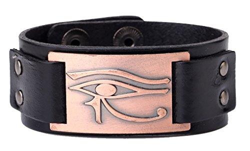 fishhook Wicca Religiöse Alte Ägypten Heilige Eye of Horus Wedjat Auge Armreif Leder Armband