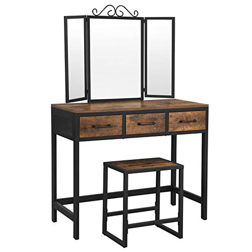 VASAGLE Vanity Table Set, Writing Desk, Makeup Table with Stool, 3 Drawers, Tri-Fold Mirror, Metal Frame, Industrial, Rustic Brown and Black URVT02BX
