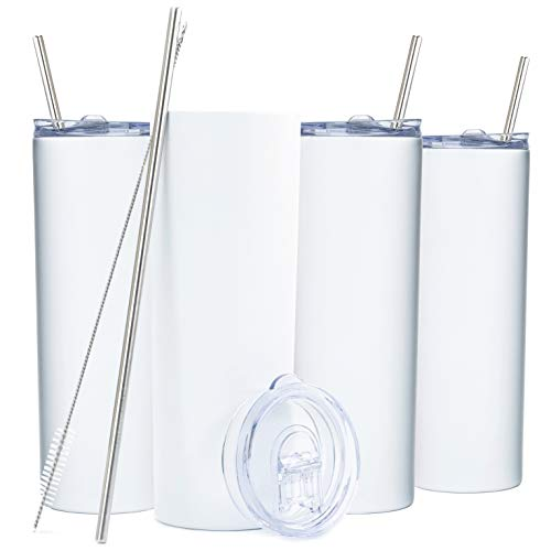 SKINNY TUMBLERS (4 pack) 20oz Stainless Steel Double Wall Insulated Tumblers with Lids and Straws | Skinny Travel Mug, Straw Cleaner INCLUDED! Reusable Cup With Straw | Vinyl DIY Gifts (White)