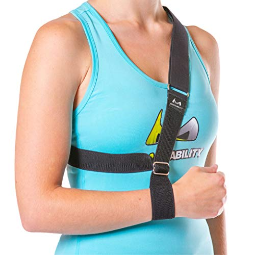 The Shoulder Sling - Patented Arm Support Strap and Waterproof Clavicle Immobilizer Brace for Broken Collarbone, Torn Rotator Cuff, Dislocation or AC Separation by BraceAbility (Universal)