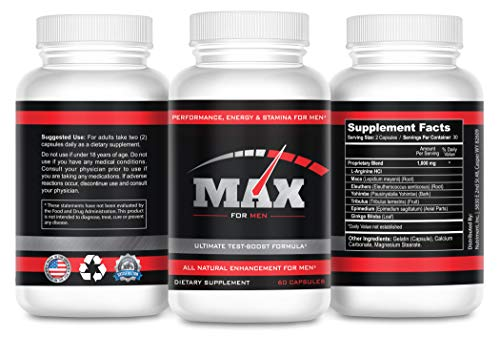 Max Extreme 1000 Male Enlargement Pills- Testosterone Booster for Men- Male Performance Enhancer Plus Energy and Focus- Male Health Supplement- 60 Fast Tablets