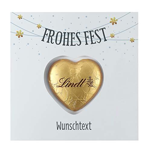 Herz & Heim® Pralinen zu Weihnachten - Süße Grüße - Grußkarte inkl. Lindt Schokoladen-Herz mit Wunschnamen Frohes Fest