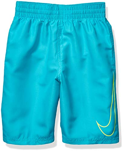 Nike Swim Boys' Big Swoosh Solid Lap Volley Short Swim Trunk, Oracle Aqua Yellow, Large