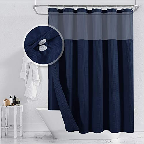 Barossa Design Hotel Style Cotton Shower Curtain with Snap-in Fabric Liner, Mesh Window Top, Honeycomb Waffle Weave Cotton Blend Fabric, Washable, Navy Blue, 71x72 Inches