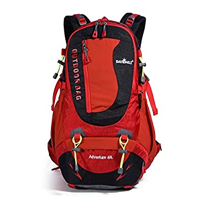 DAVIDNILE Hiking Backpack 40L Waterproof Outdoor Internal Frame Backpacks for Men and Women Travel Camping Climbing (Red)