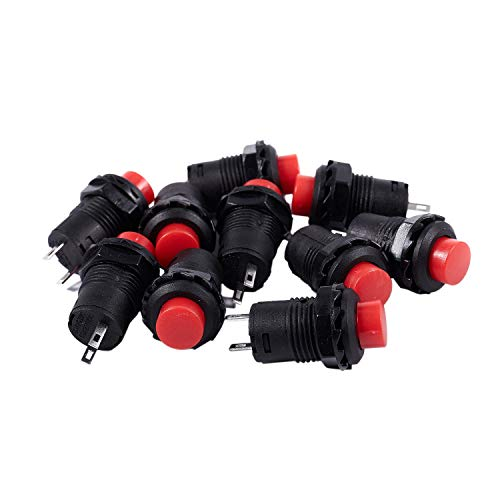 Gaetooely 10 x Con Montura De Panel Cabeza Redonda Momentaneo SPST 2 Pin Pulsador Interruptor