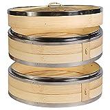 DASND 2 Niveles de cocción de bambú de cocción con Doble Acero Inoxidable Bandas para cocinar Bollos albóndigos Vegetales arroz