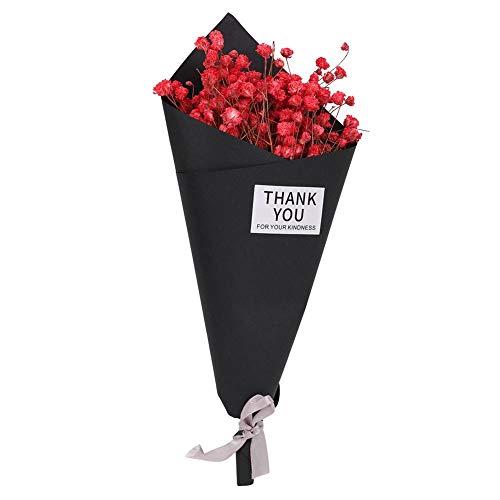 Oumefar dekorative Zimmerpflanze Elegante Dekoration getrocknete Blume klein für Hauptdekoration Schlafzimmer Wohnzimmer(25 Black Paper red Star)