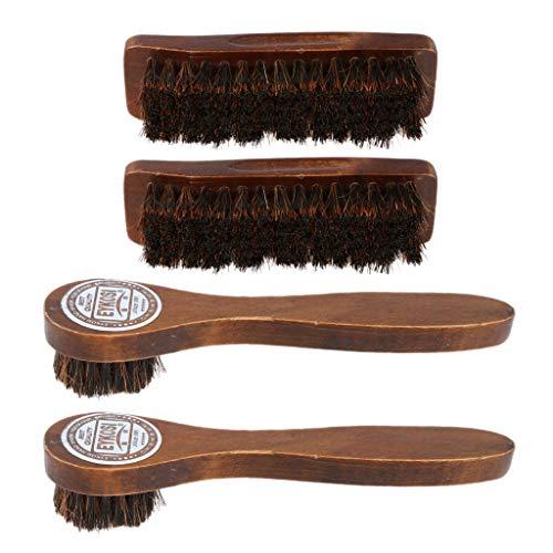 joyMerit 4 Piezas de Pelo de Caballo, Herramienta de Cepillo para Zapatos, Brillo, Pulido, Cepillos de Madera Marrón
