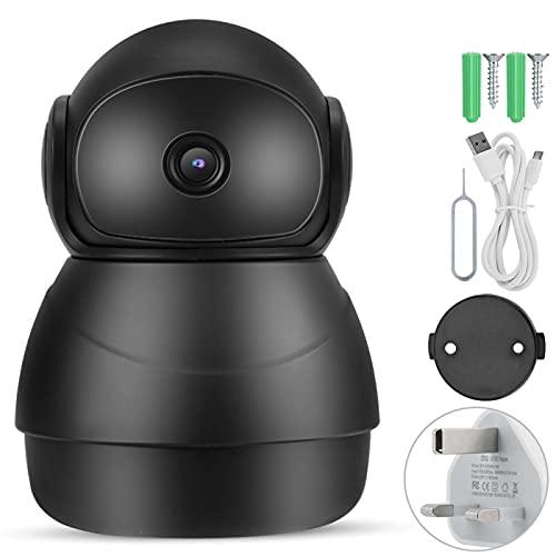 Monitor de bebé Wifi Smartphone, 1080P, Cámara para cachorros con control remoto, Intercomunicador bidireccional, Grabación en bucle, Vision nocturna para la seguridad del bebé(ENCHUFE DE LA UE)