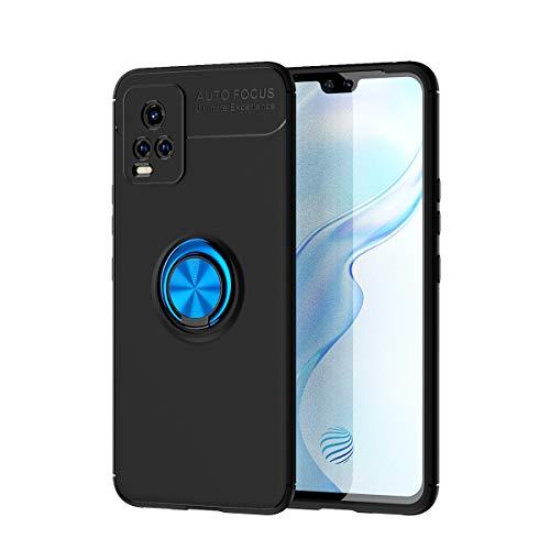 zl one Compatible con/reemplazo para la funda de teléfono Vivo S7 5G / V20 Pro / S7t 5G Metal Ring Back Cover ultra delgado TPU (cubierta negra anillo azul)