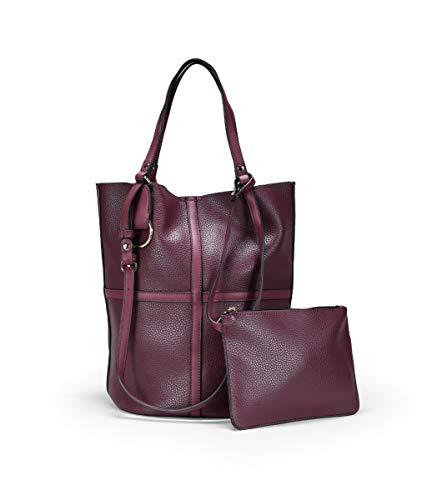 BOSANOVA Bordeaux-Schultertasche für Damen | Magnetverschluss, - burgunderrot - Größe: Einheitsgröße