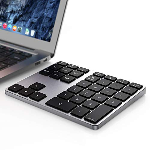 Mac Os Bluetooth Numeric Keyboard, 35 - Keys Aluminum Wireless Numeric Keyboard Dual System Rechargeable Ultra-Silent External Numeric Keyboard for MacBook/MacBook Pro/Air and Windows Laptop
