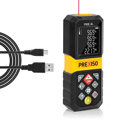 PREXISO Laser Measure, 265Ft Rechargeable Laser Distance Meter with Multi-Measurement Units M/In/Ft, Backlit LCD 4 Line Display, and Pythagorean, Distance, Area, Volume Modes