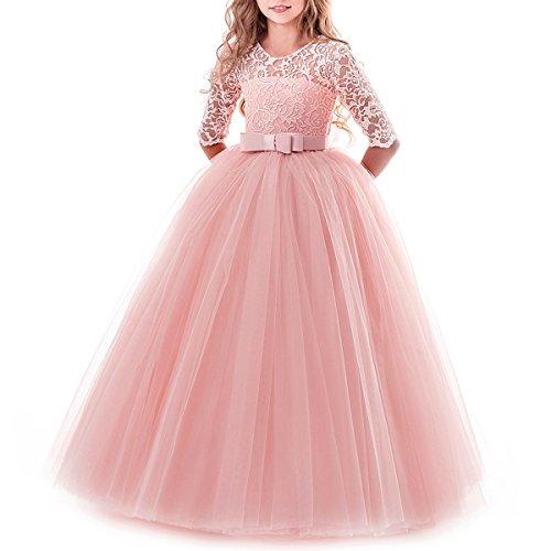 IBTOM CASTLE Vestido de niña de Flores para la Boda Princesa Largo Gala Encaje De Ceremonia...