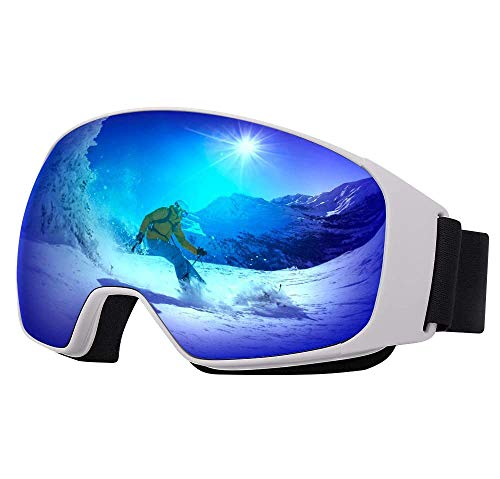 Avoalre Snow Ski Goggles for Men Women, Anti Fog UV400 Snowboard Goggles with Dual Layers Lens, Helmet Compatible Goggles for Winter Outdoor Sport Snowboarding Skating Jet Skiing Snowmobling