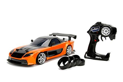 Jada Toys 253209001 Fast & Furious Drift Mazda RX-7, RC, Ferngesteuertes Auto mit Funkfernsteuerung, Driftfunktion, Allradantrieb, 4 Ersatzreifen, USB Ladefunktion, Maßstab 1:10, orange