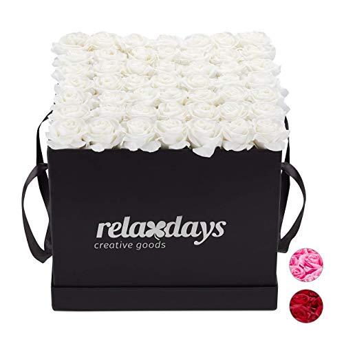 Relaxdays Boîte Ronde, 49, Bac à Roses Noir, conservable 10 Ans, Idée Cadeau, Blanc, Carton, Tissu, PP, Weiß, 28,5 x 30,5 x 30,5 cm