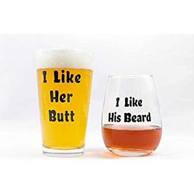 Funny Couples Gifts - I Like His Beard I Like Her Butt Novelty Wine Glass & Beer Glass Combo - Engagement Gift or Wedding Gift