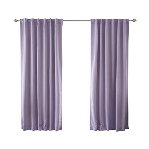 Best Home Fashion Premium Blackout Curtain Panels - Solid Thermal Insulated Window Treatment Blackout for Bedroom - Back Tab & Rod Pocket – Lavender - 52' W x 84' L - (Set of 2 Panels)