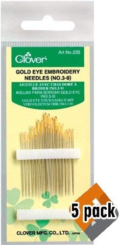 Clover Price reduction Under blast sales 235 No. 3-9 Gold 5 Pack Embroidery Needles Eye