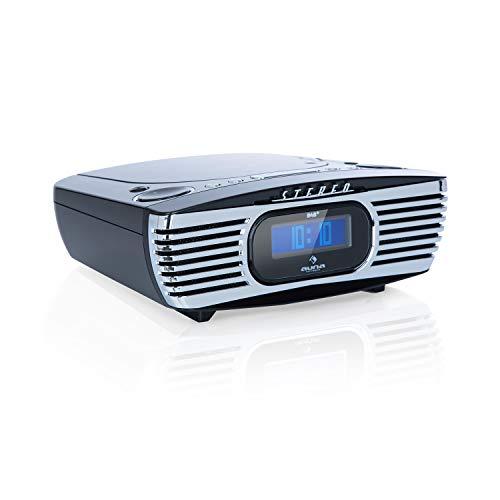 auna Dreamee DAB+ Radiowecker mit CD-Player - Retro DAB+ Radio, Digital-Radio, UKW Tuner, Weckfunktionen, Dual-Alarm, Schlummerfunktion, Sleep-Timer, CD-R/RW/MP3, AUX, USB-Ladeport, schwarz