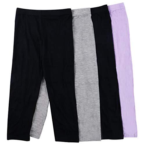 MyKazoe Girls Ultra Soft Seamless Capri Leggings (Set of 4) (4T/5T, Basics (Black x 2, Grey, Lavender))