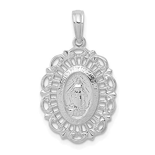 Colgante de oro blanco de 14 quilates con medalla milagrosa ovalada, regalo de joyería para mujeres