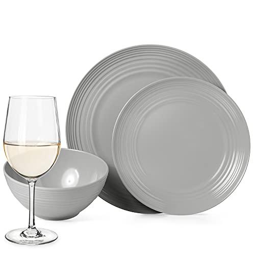 Juego de vajilla antideslizante de melamina para camping, color gris, para 4 personas, 16 piezas + 4 copas de vino blanco Tiamo, para vino blanco, para picnic, barbacoa, utensilios de cocina