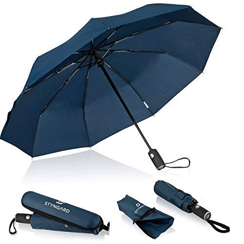 STYNGARD Regenschirm sturmfest bis 140 km/h - Automatik inkl. Schirm-Tasche & Reise-Etui I Taschenschirm mit Auf-Zu-Automatik, Klein & Leicht mit Teflon-Beschichtung (Blau)