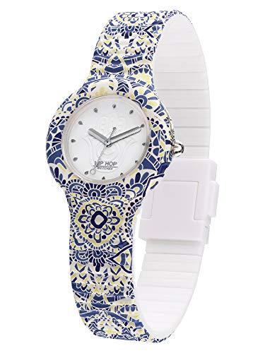 Hip Hop HWU1039 - Reloj de pulsera para mujer, diseño de mandala, color blanco, movimiento solo la hora, cuarzo 3H y correa de silicona estampada en blanco