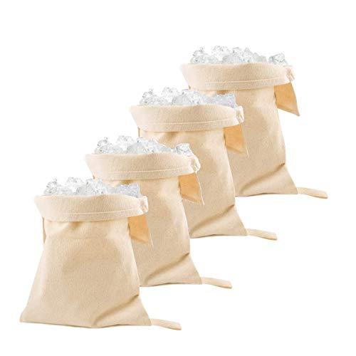 WYCY Lewis Bolsa de Hielo Triturada Bolsa de Hielo de Lona Soporte Trituradora de Hielo de 12'Trituradora de Hielo de Madera para Barras de Cocina (4P)