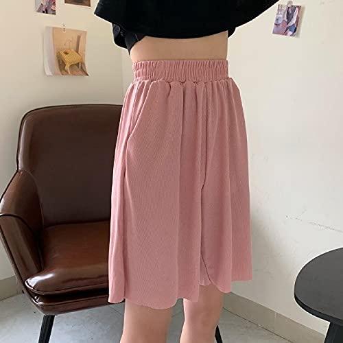 ShSnnwrl Las señoras pantalones cortos de las mujeres de verano de alta cintura elástica de pierna ancha para mujer elegante de todo partido estilo coreano señoras Loos