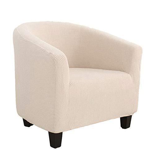 WEICHUAN Sesselbezug Stretch Sesselschoner, Jacquard Sesselhusse Sesselüberwurf für Clubsessel Cocktailsessel, Elastisch Weich Sofahusse Sofabezug Beige