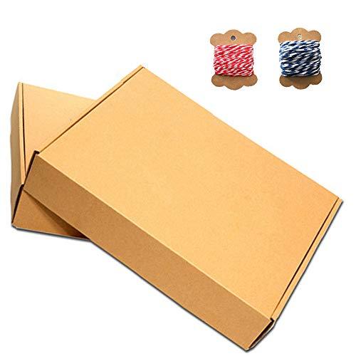 30 Piezas Kraft Papel Cajas Regalo, Kraft Marrón Cajas Regalo Autoensamblables, Con Hilos Algodón Rojo y Azul, para Presentación Regalo, Fiestas, Bodas, Pasteles, Galletas y Joya(5.9 * 3.93 *