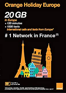 Orange Holiday Europe – 10GB Internet Data in 4G/LTE (+10GB Additional for SIMS Activated from April 4TH) + 120 mn + 1000 Texts in 30 Countries in Europe