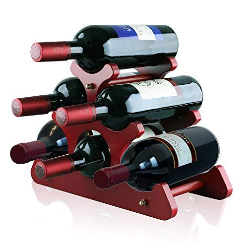 Gimars Estante para Botellas de Vino de Madera Natural, Estante para Vino de Mesa, Soporte para Botellas de Vino, champán espumoso, marrón, 6 Botellas, E
