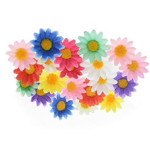 NEL Simulación pequeña margarita, flores artificiales decorativas, flores artificiales hechas a mano, guirnalda de boda, decoración de álbumes de recortes