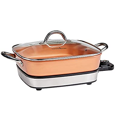 Copper Chef removable electric skillet Use Buffet Server and in the Oven, 12
