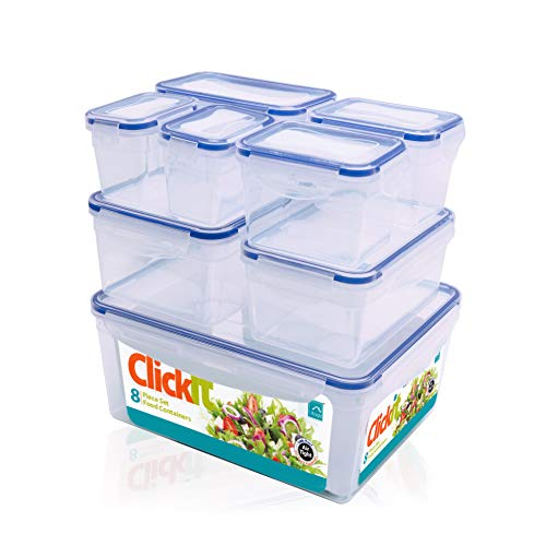 Knight 8 Piece Food Storage Container Set with Lid | Air-Tight Leak-Proof | Microwave & Dishwasher Safe | 6 Assorted Sizes | BPA Free High Strength Plastic Stackable Meal Prep Snack Food Storage Set