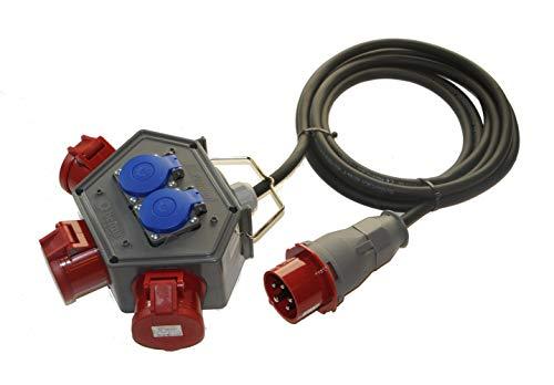 AW-TOOLS Stromampel Energieampel Baustromverteiler Stromverteiler 2 x 230V Schuko + 3 x CEE 16A/400V Energiewürfel Versorgungseinheit