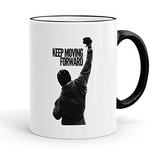 Funtasstic Tasse Keep Moving Forward - Kaffeepott Kaffeebecher ca. 330 ml, Farbe:schwarz