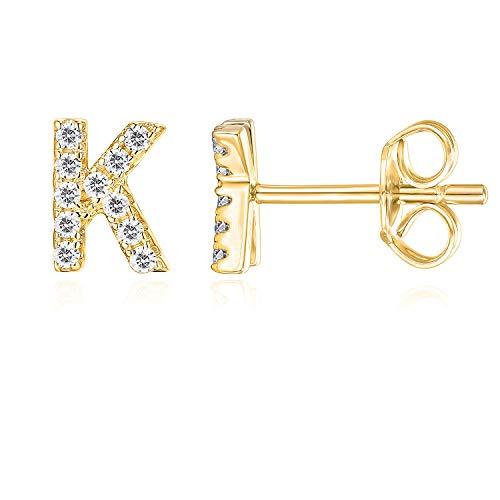 PAVOI 14K Yellow Gold Plated Sterling Silver CZ Alphabet Letter Earrings | Initial Earrings for Girls | Letter K