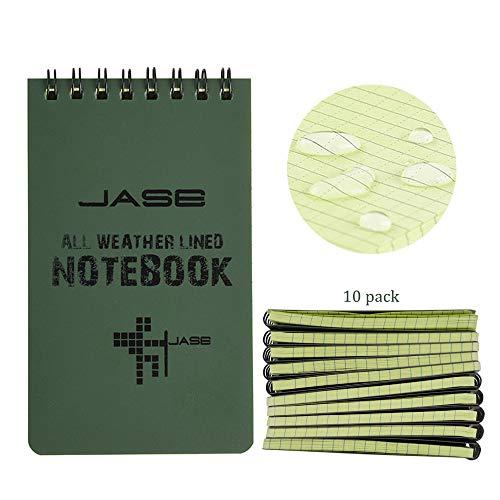 RETON 10 Stück Wasserdichte Notizblock, 3 x 5 Zoll Pocket Notizbuch, Allwetter-Notizblöcke mit Top-Spirale, Taktische Steno Blöcken mit Raster für Aktivitäten im Freien Aufnahmen (Armeegrün)