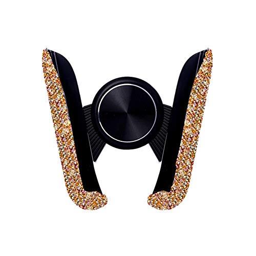 ikasus Soporte de teléfono móvil para coche, con brillantes brillantes, soporte para rejilla de ventilación, 360 grados, para iPhone, Samsung, Huawei, color dorado
