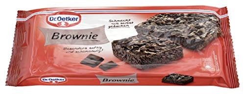 Dr. Oetker fertiger Brownie, 6er Pack (6 x 300 g), dunkler Rührkuchen mit Schokoladenstückchen & Kakao, sofort verzehrfertig, Schokokuchen für spontane Anlässe, wie selbstgebacken