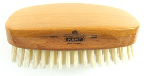 Kent Brushes Brosse militaire rectangulaire à base en hêtre/satin et poils naturels blancs pour homme