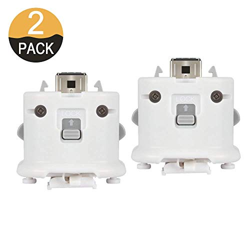 2PCs WII Motion Plus MotionPlus Adapter Sensor 2 Pack External Remote Sensor Accelerator Attachment Sports Resort Accessories for Nintend WII U Remote Controller White