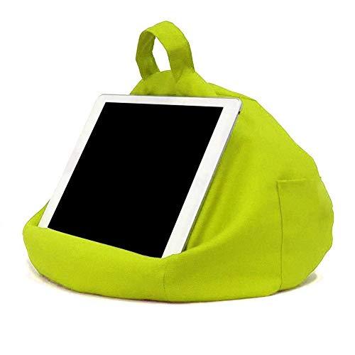 Soporte de almohada para tableta. Bolsa de frijoles portátil imitación de cáñamo coche hogar Tablet cojín. Mantiene tu dispositivo en cualquier ángulo de visión. Para iPads tabletas EReaders (Verde)